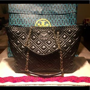 Tory Burch Black Quilted Leather Marion Tote Bag